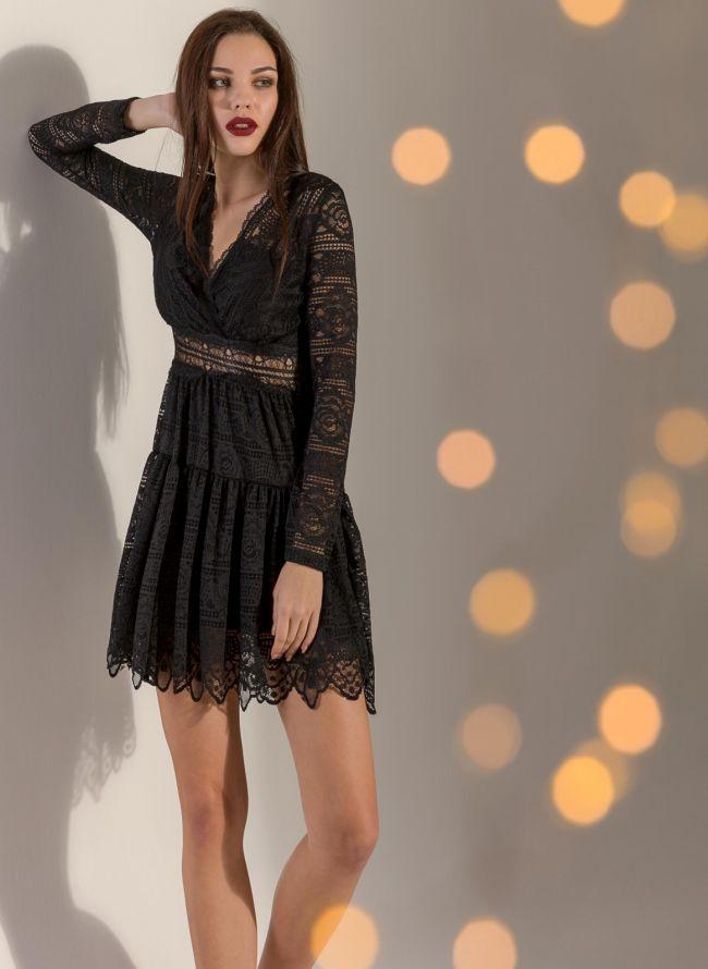 79b5d83effe5 Βραδινό φόρεμα από δαντέλα - Μαύρο - TheFashionProject