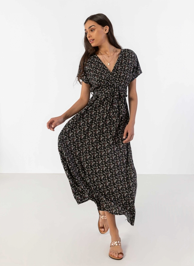 a142517fab9 Φόρεμα floral με κρουαζέ μπούστο - Μαύρο