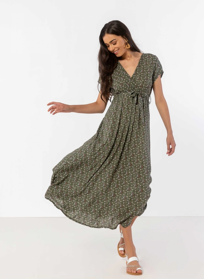 b2cd63bd15f Φόρεμα floral με κρουαζέ μπούστο - Χακί