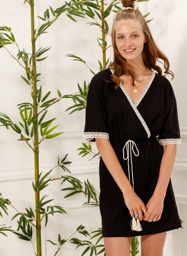 Φόρεμα κιμονό με πλεκτή λεπτομέρεια - Μαύρο