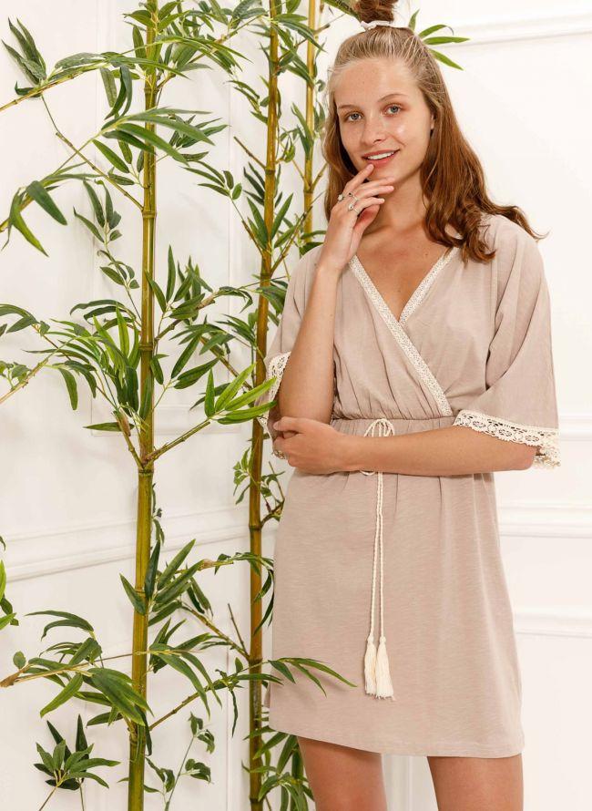 Φόρεμα κιμονό με πλεκτή λεπτομέρεια - Πούρο