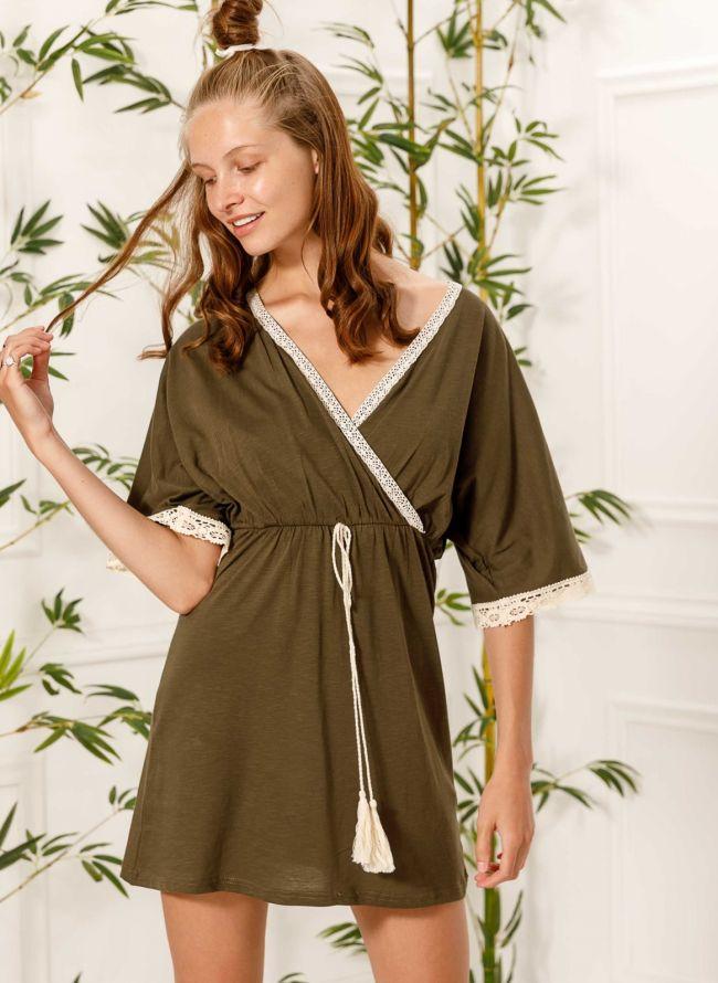 Φόρεμα κιμονό με πλεκτή λεπτομέρεια - Χακί