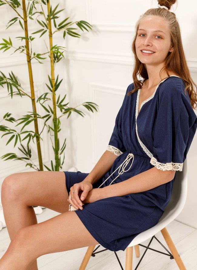 Φόρεμα κιμονό με πλεκτή λεπτομέρεια - Μπλε