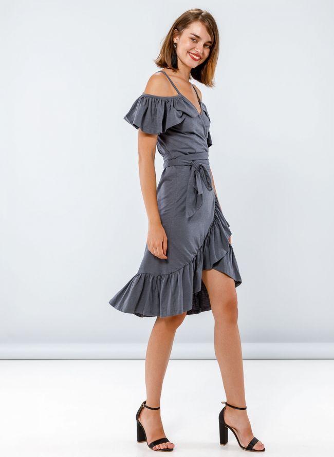 Ασύμμετρο κρουαζέ φόρεμα - Ανθρακί