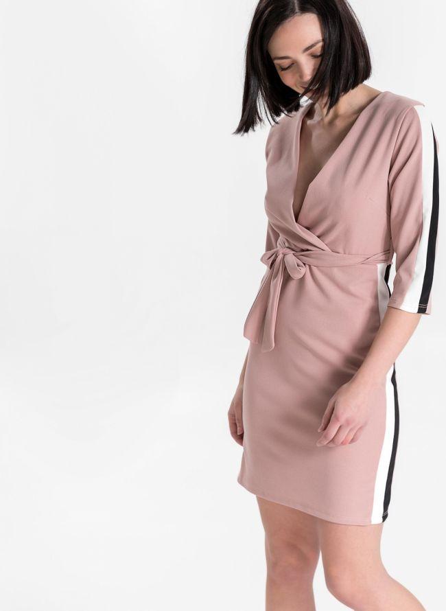 Φόρεμα κρουαζέ με ζωνάκι - Ροζ