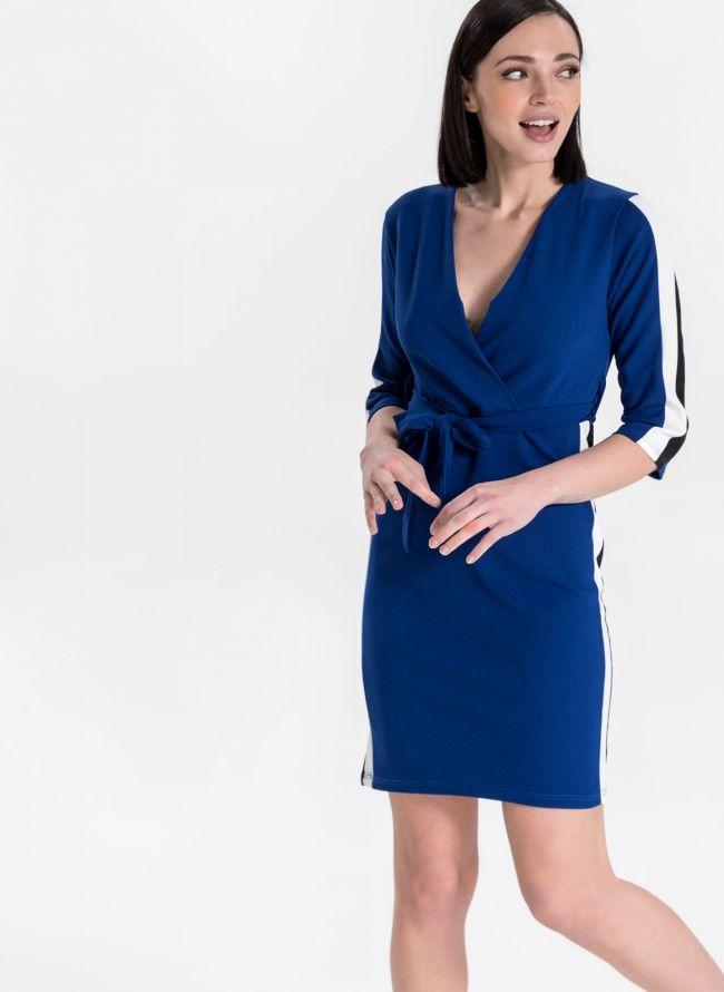 Φόρεμα κρουαζέ με ζωνάκι - Ίντιγκο