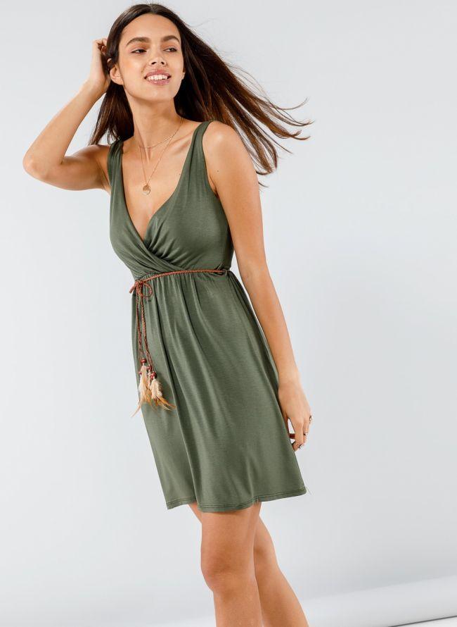 Φόρεμα κρουαζέ με ζωνάκι με φτερά - Χακί