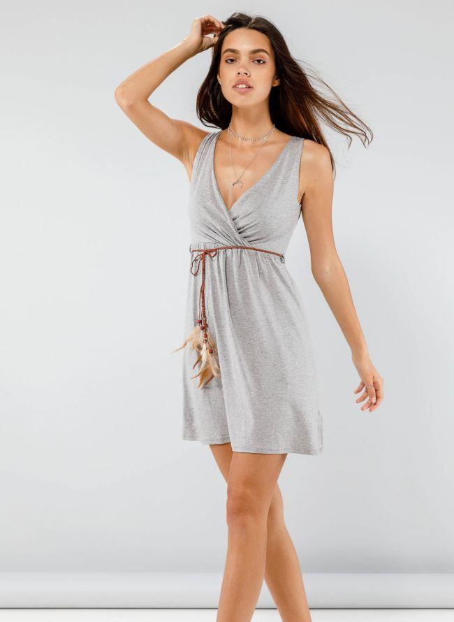 Φόρεμα κρουαζέ με ζωνάκι με φτερά - Γκρι