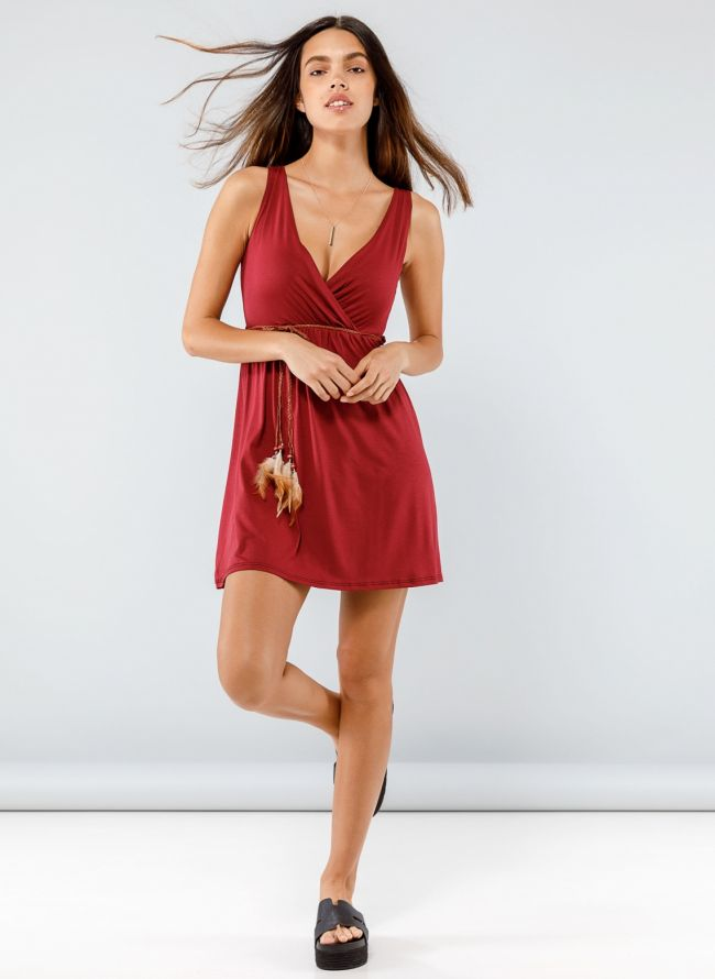 Φόρεμα κρουαζέ με ζωνάκι με φτερά - Μπορντό
