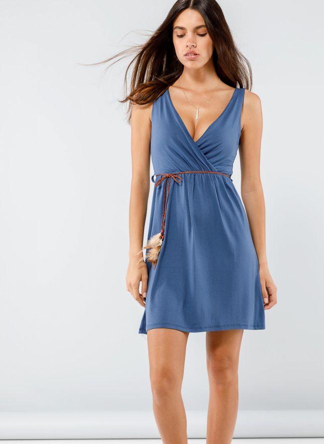 Φόρεμα κρουαζέ με ζωνάκι με φτερά - Ραφ
