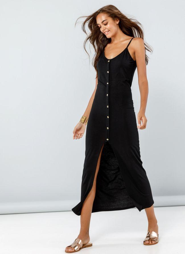 Φόρεμα maxi με κουμπιά - Μαύρο