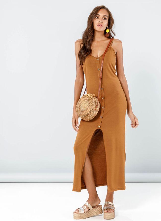 Φόρεμα maxi με κουμπιά - Ταμπά
