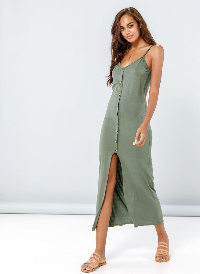 Φόρεμα maxi με κουμπιά - Χακί