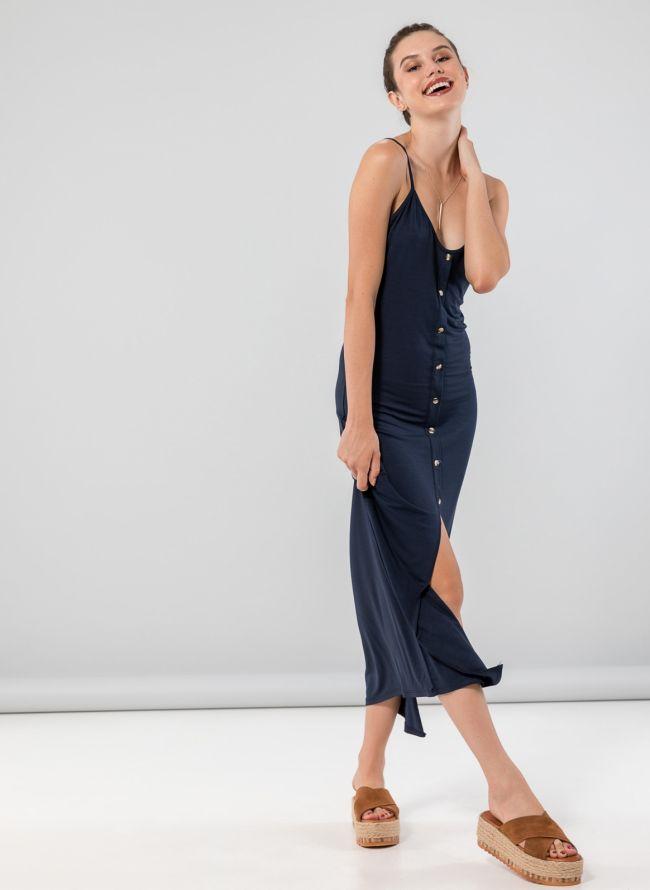 Φόρεμα maxi με κουμπιά - Μπλε σκούρο