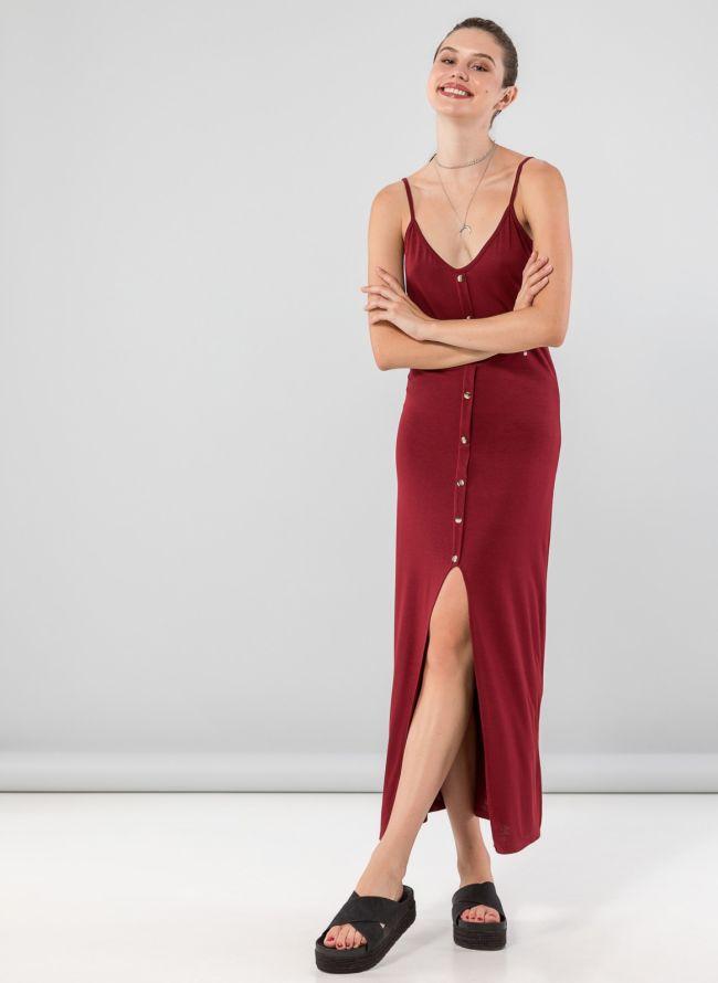 Φόρεμα maxi με κουμπιά - Μπορντό