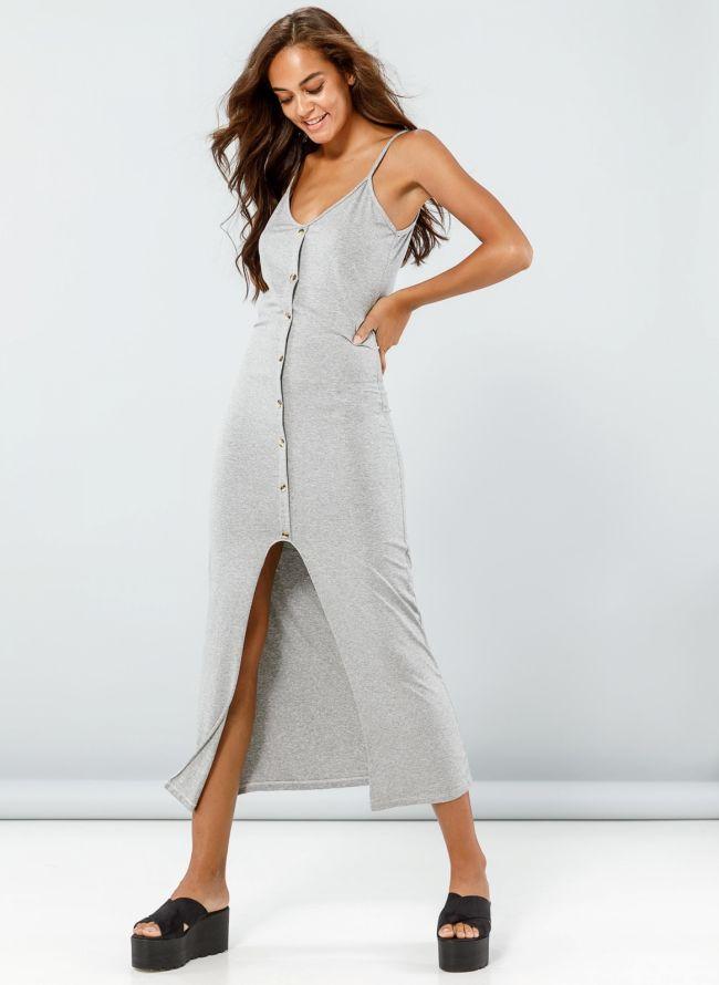 Φόρεμα maxi με κουμπιά - Γκρι