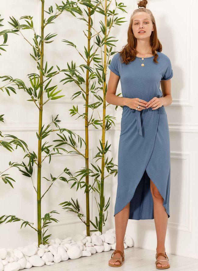 Φόρεμα με άνοιγμα - Μπλε jean