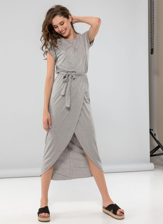 Φόρεμα με άνοιγμα - Γκρί