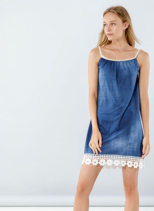 Φόρεμα με δαντέλα στο τελείωμα - Μπλε σκούρο
