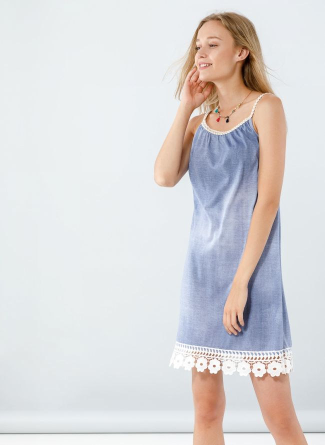 Φόρεμα με δαντέλα στο τελείωμα - Μπλε jean