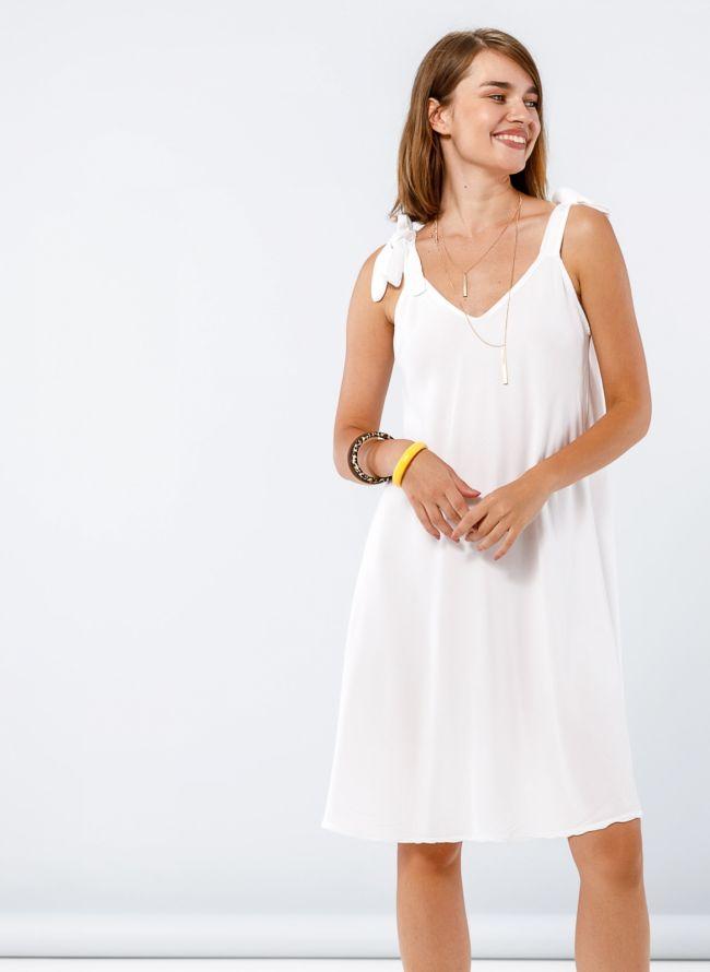 Φόρεμα με δετούς ώμους - Λευκό
