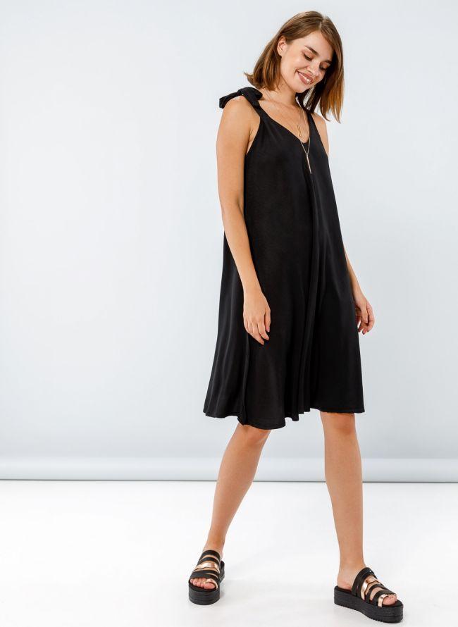 Φόρεμα με δετούς ώμους - Μαύρο