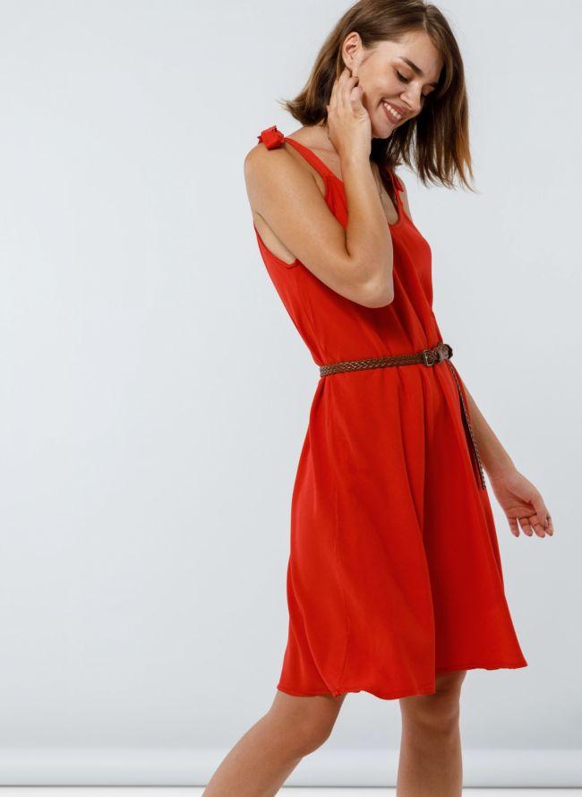Φόρεμα με δετούς ώμους - Κόκκινο