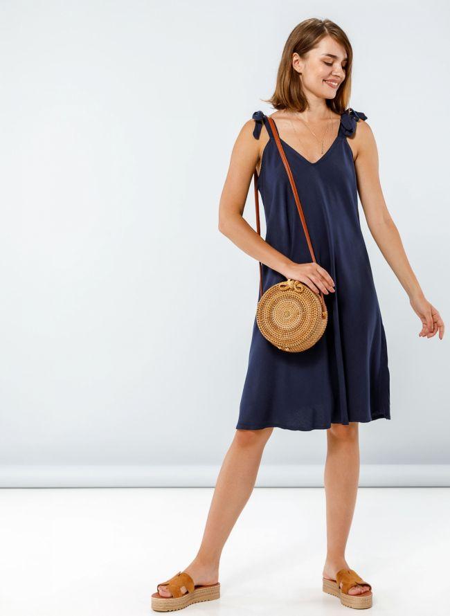 Φόρεμα με δετούς ώμους - Μπλε σκούρο