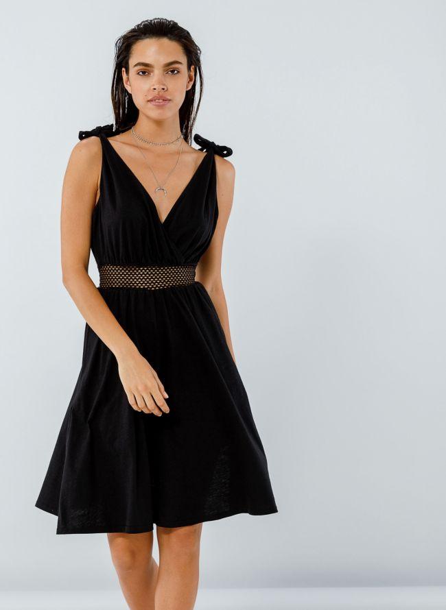 Φόρεμα με διαφάνεια - Μαύρο