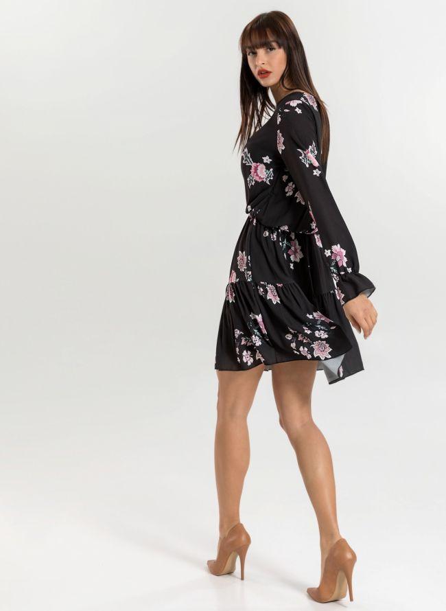 Φόρεμα με λουλούδια - Μαύρο