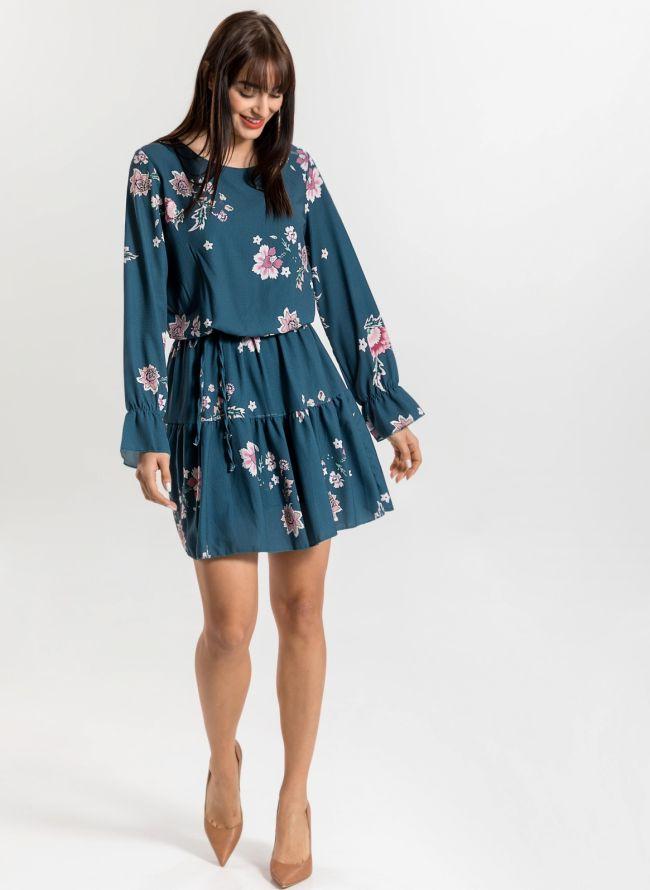 Φόρεμα με λουλούδια - Petrol