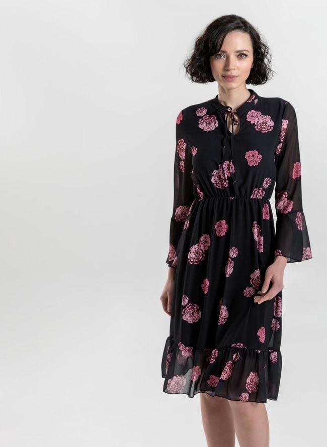 Φόρεμα με λουλούδια και δέσιμο στο στήθος - Μαύρο