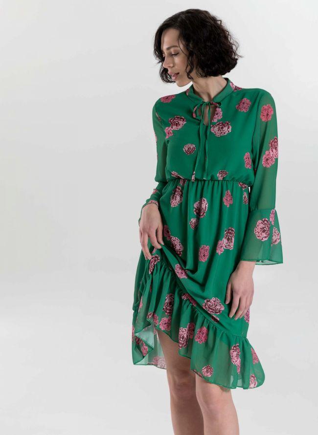 Φόρεμα με λουλούδια και δέσιμο στο στήθος - Πράσινο
