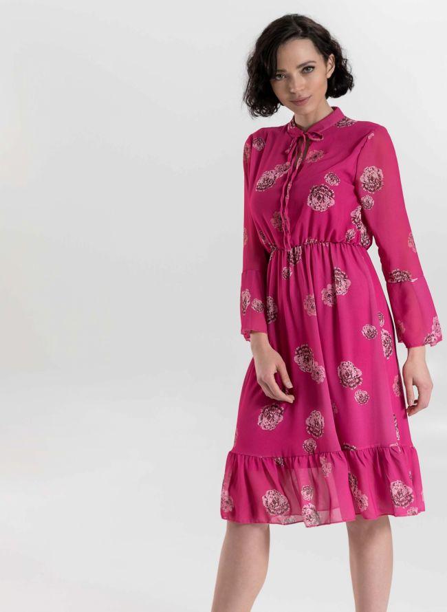 Φόρεμα με λουλούδια και δέσιμο στο στήθος - Φούξια