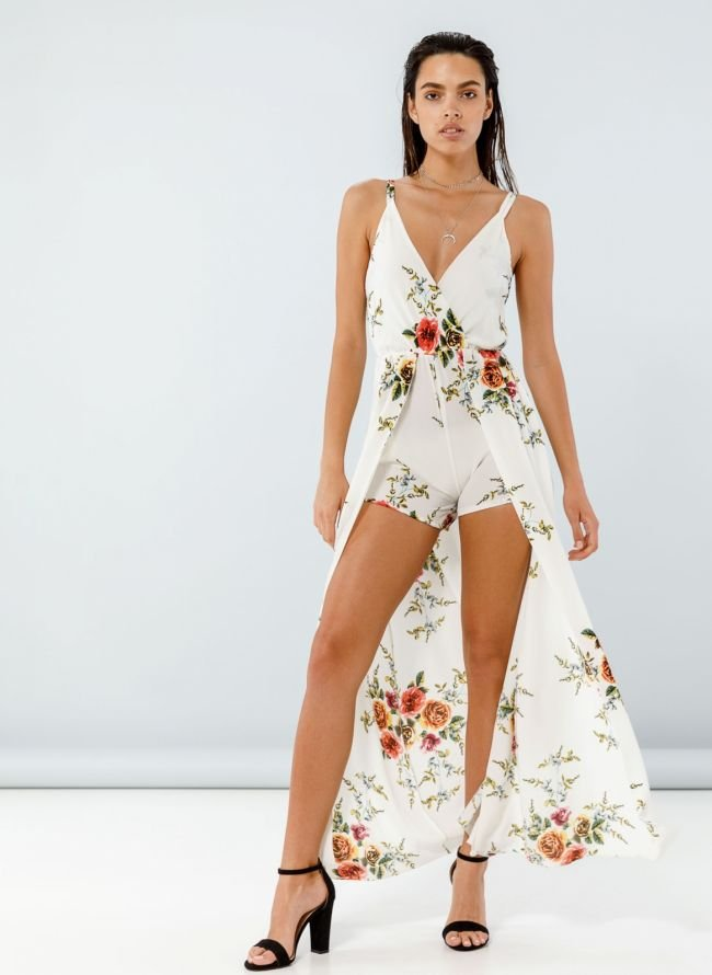 Φόρεμα με λουλούδια και ενσωματωμάνο σορτς - Λευκό