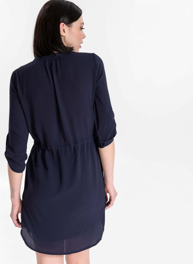 Φόρεμα με μανίκι 3/4 - Μπλε σκούρο
