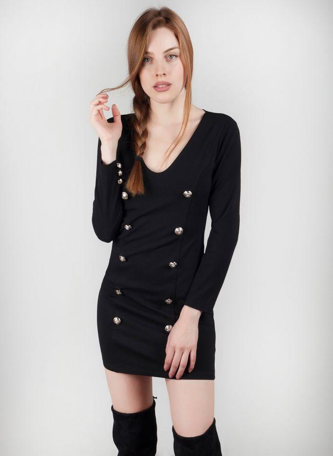 Φόρεμα  με μεταλλικά κουμπιά - Μαύρο