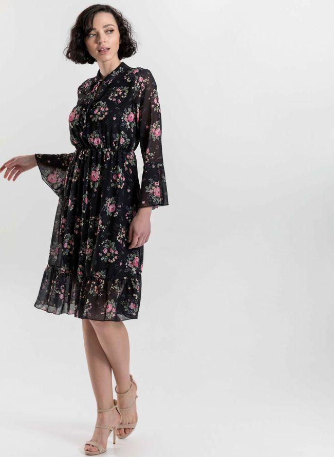 Φόρεμα με μικρά λουλούδια - Μαύρο