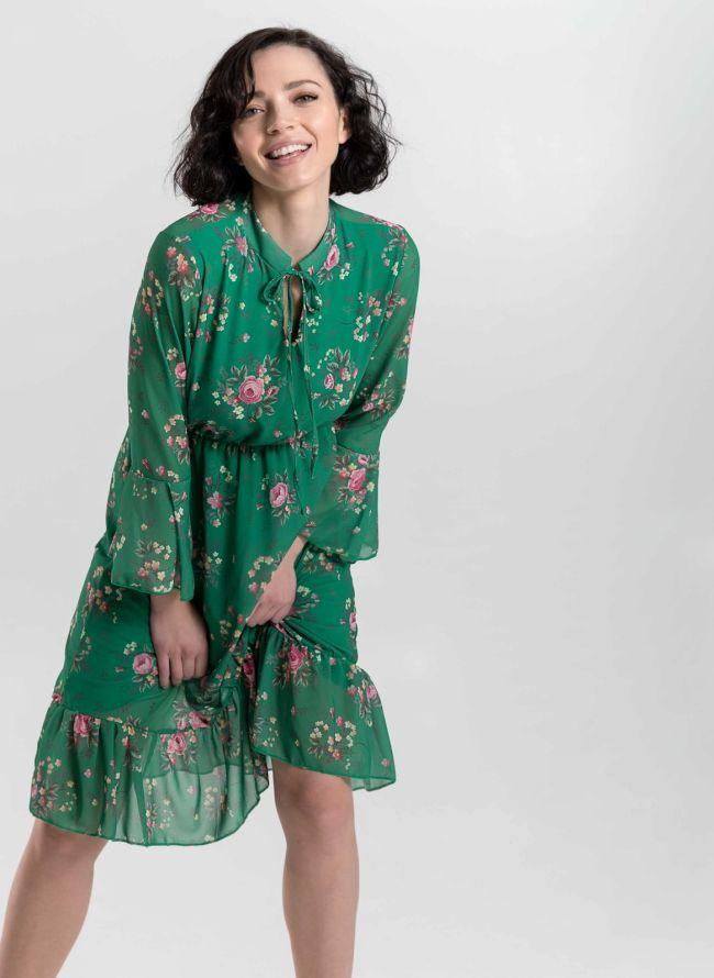 Φόρεμα με μικρά λουλούδια - Πράσινο