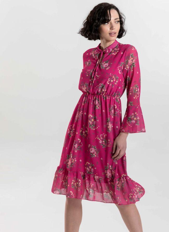Φόρεμα με μικρά λουλούδια - Φούξια