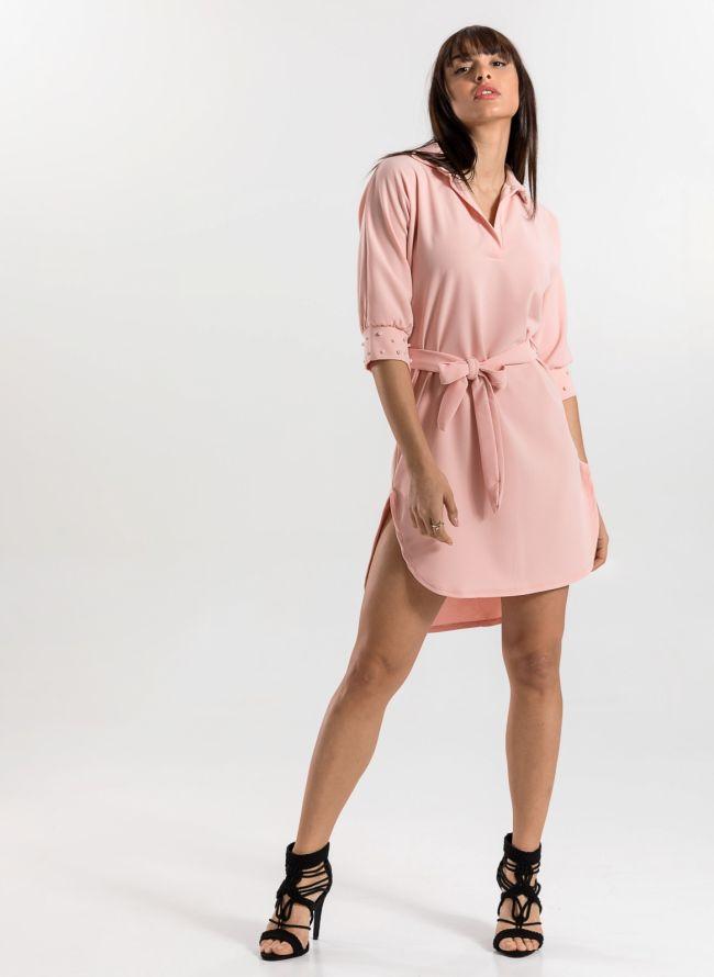 Φόρεμα με πέρλες στο γιακά και τα μανίκια - Nude