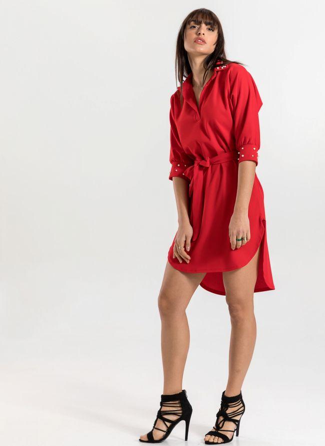 Φόρεμα με πέρλες στο γιακά και τα μανίκια - Κόκκινο