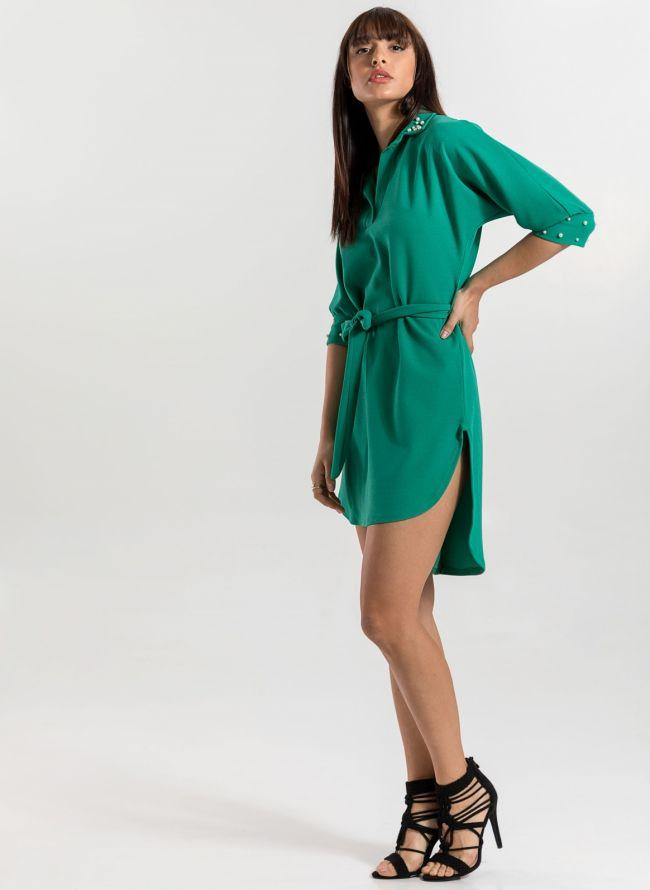 Φόρεμα με πέρλες στο γιακά και τα μανίκια - Πράσινο