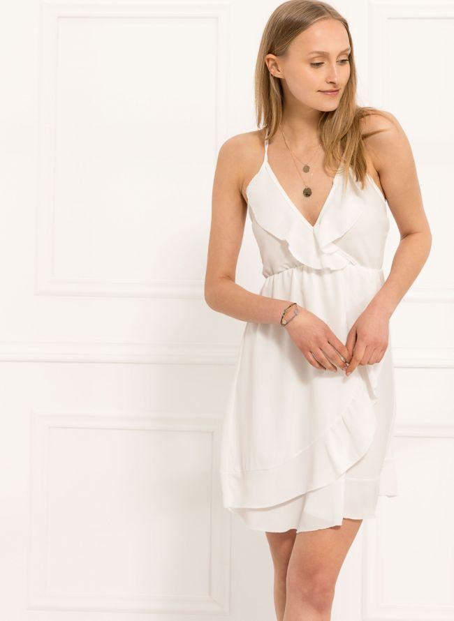 Φόρεμα με βολάν  - Λευκό