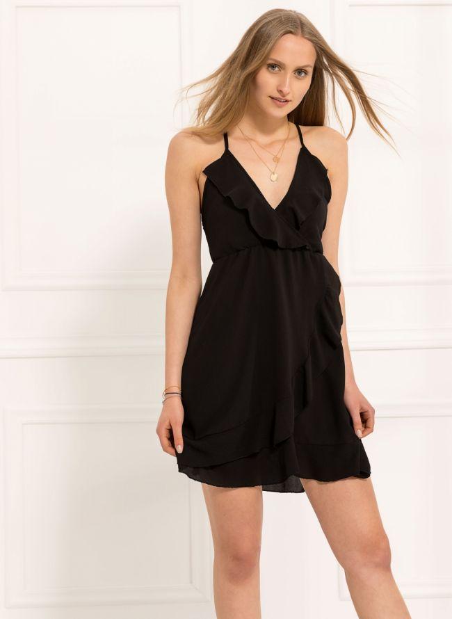 Φόρεμα με βολάν  - Μαύρο
