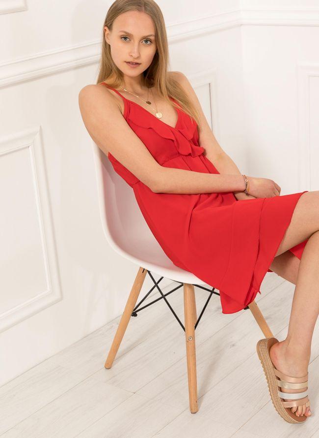 Φόρεμα με βολάν  - Κόκκινο