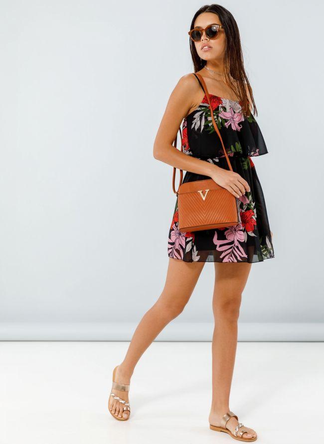 Φόρεμα με βολάν στο μπούστο και λουλούδια - Μαύρο