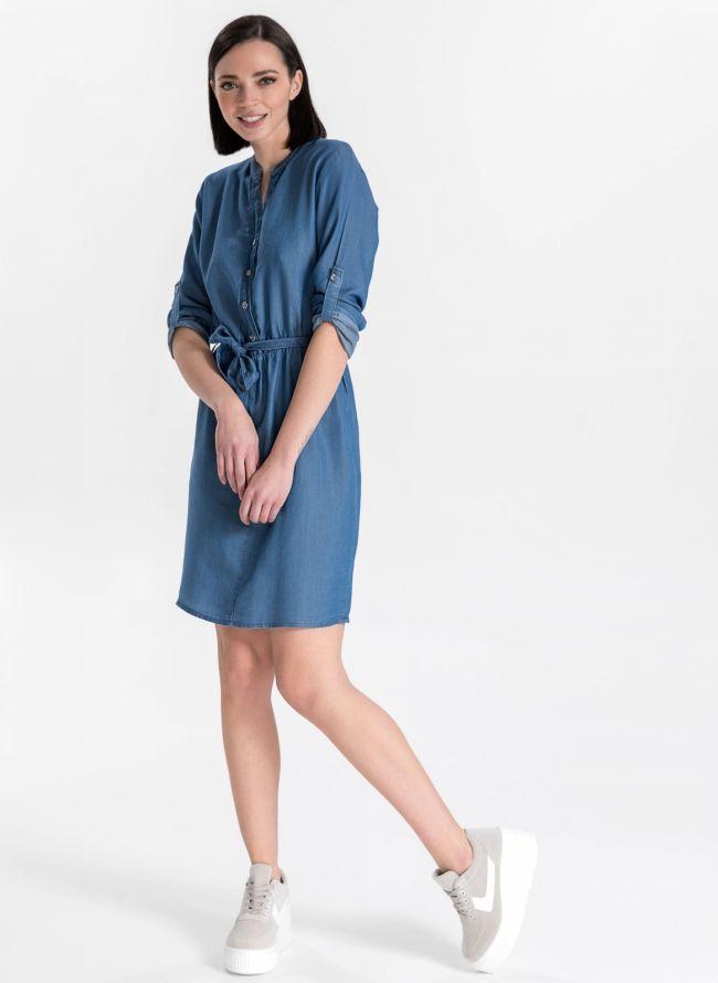 Φόρεμα με ζωνάκι - Μπλε jean