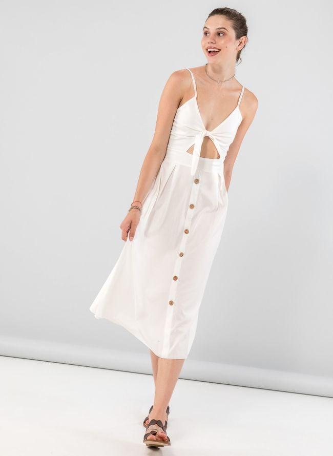 Φόρεμα midi με άνοιγμα στο μπούστο - Λευκό
