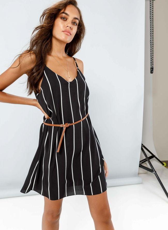 Φόρεμα mini με ρίγες - Μαύρο